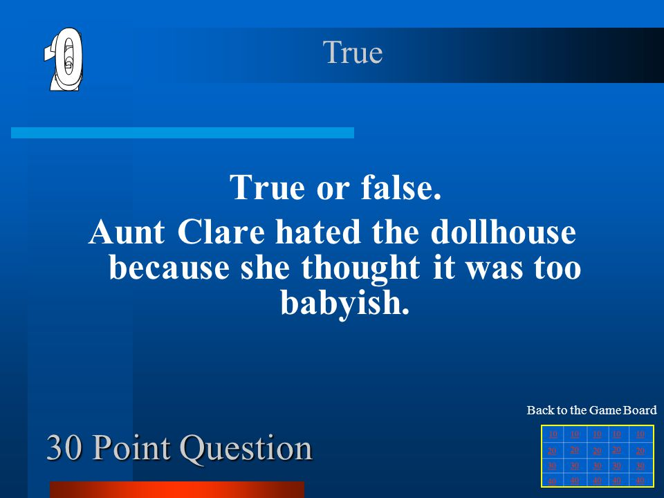 Aunt Clare hated the dollhouse because she thought it was too babyish.