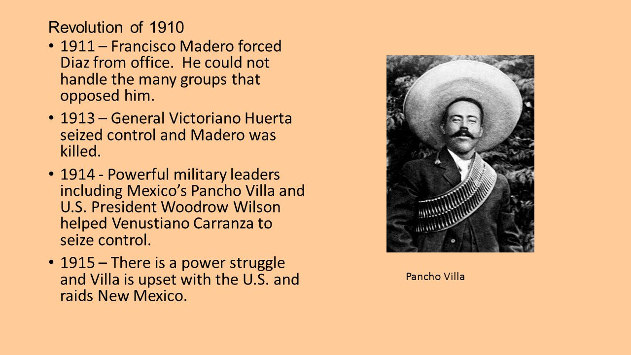 1913 – General Victoriano Huerta seized control and Madero was killed.