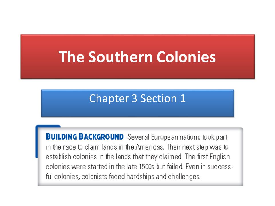 The Southern Colonies Chapter 3 Section 1