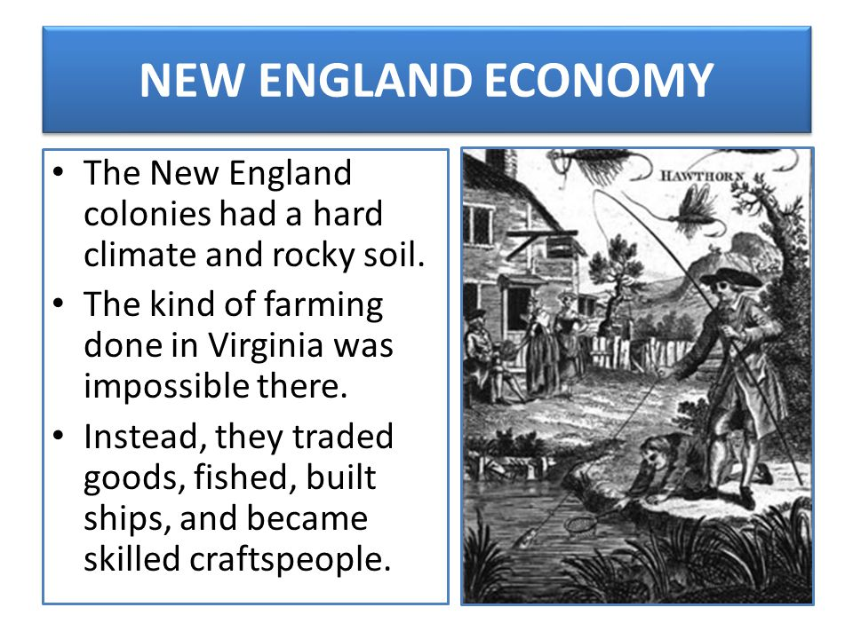 NEW ENGLAND ECONOMY The New England colonies had a hard climate and rocky soil. The kind of farming done in Virginia was impossible there.