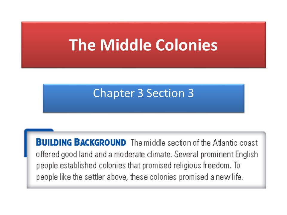 The Middle Colonies Chapter 3 Section 3
