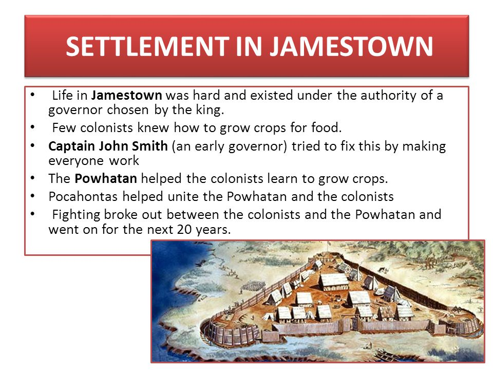 SETTLEMENT IN JAMESTOWN