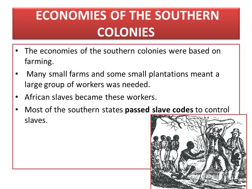 ECONOMIES OF THE SOUTHERN COLONIES