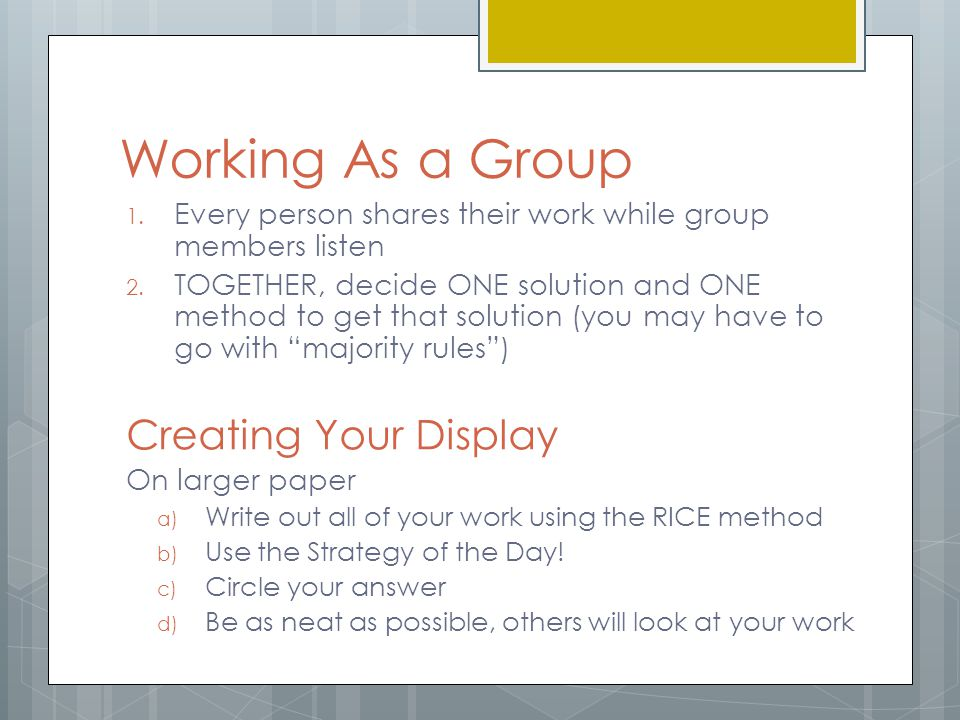 Working As a Group Creating Your Display