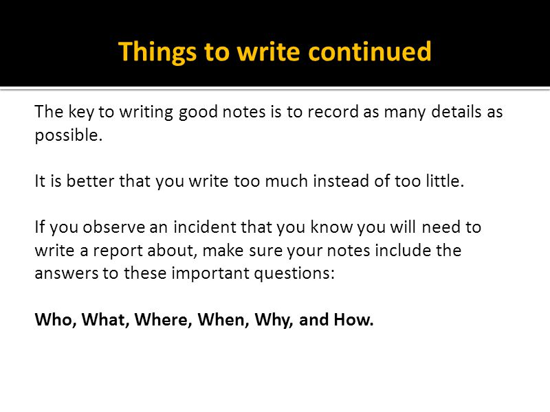 Things to write continued