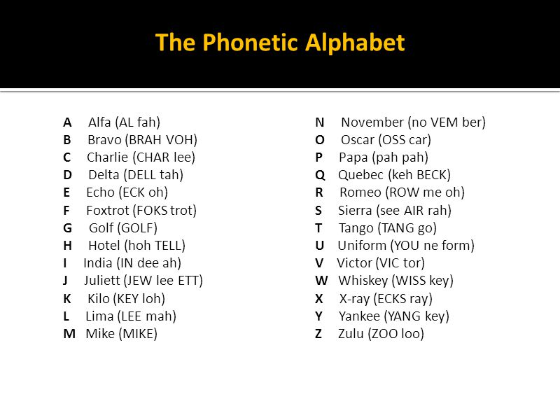 The Phonetic Alphabet A Alfa (AL fah) B Bravo (BRAH VOH)