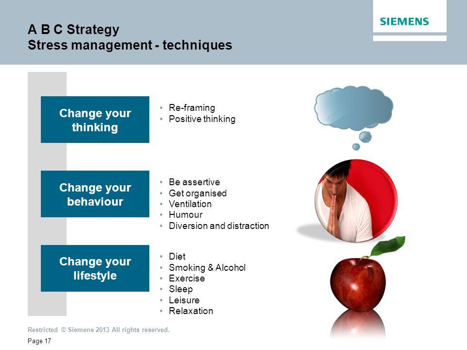 A B C Strategy Stress management - techniques