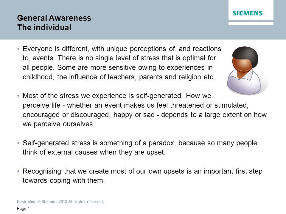 General Awareness The individual