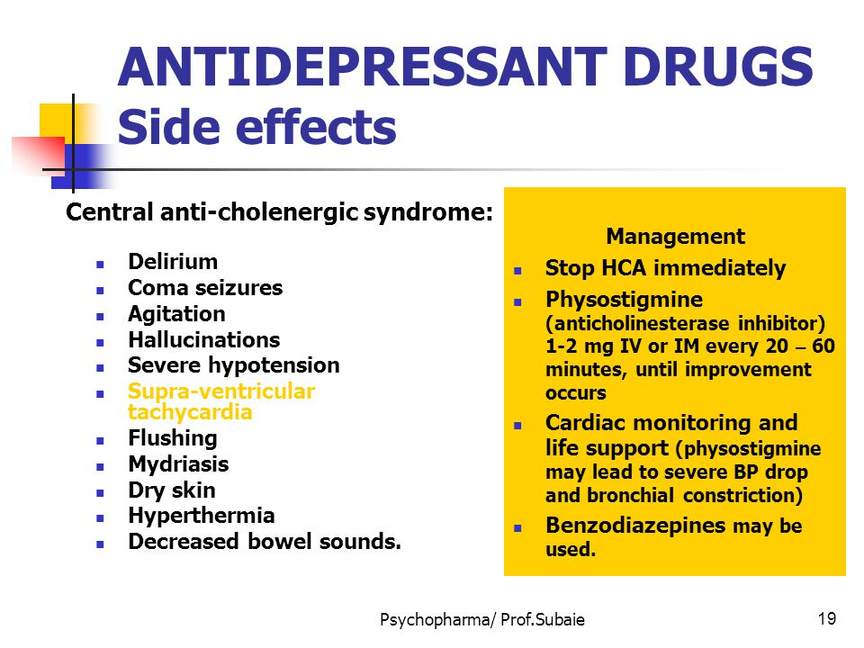 ANTIDEPRESSANT DRUGS Side effects