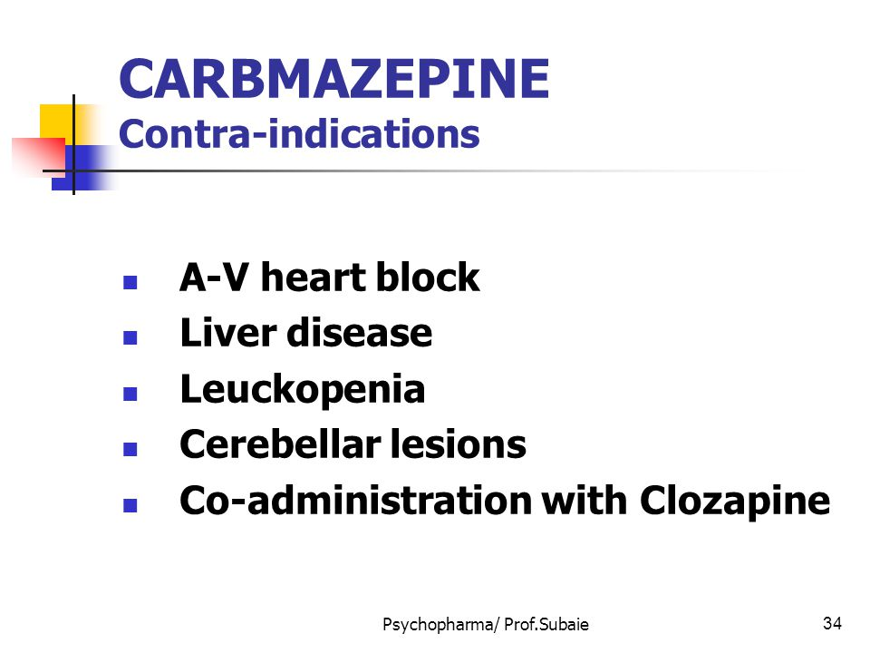 CARBMAZEPINE Contra-indications