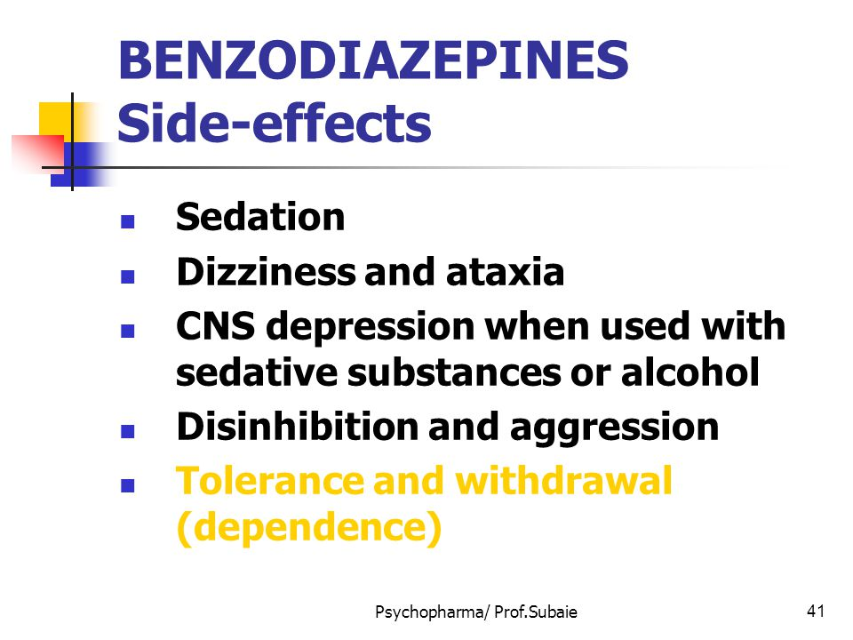 BENZODIAZEPINES Side-effects