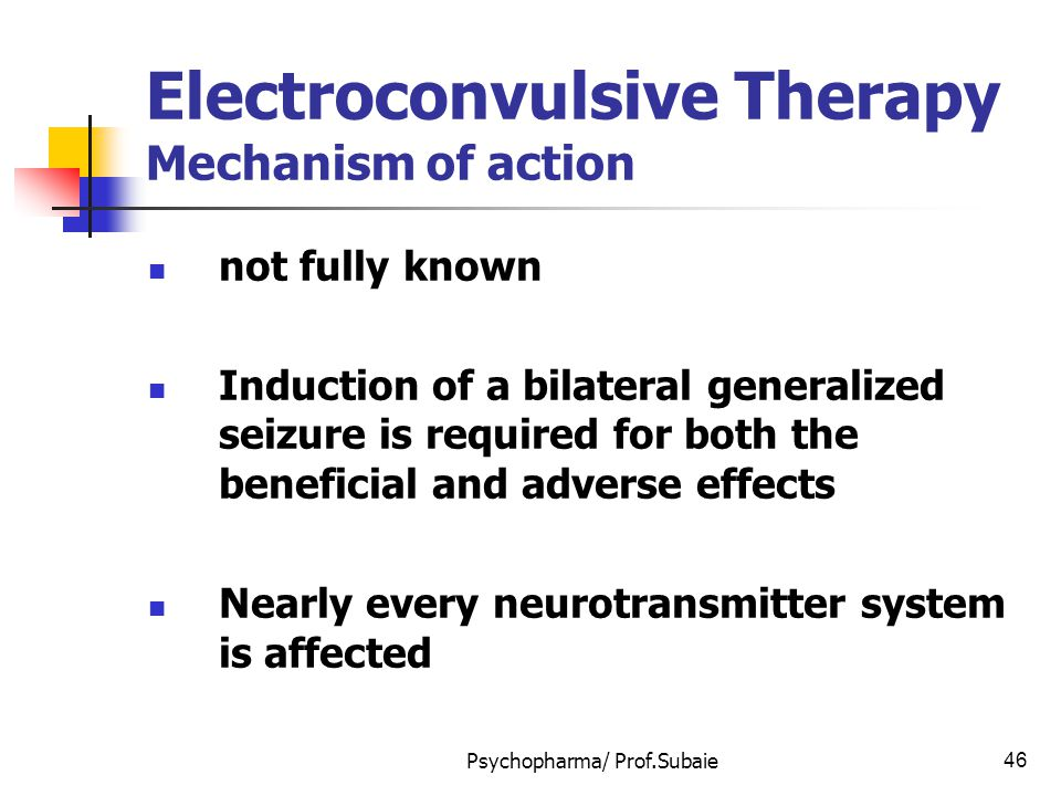 Electroconvulsive Therapy Mechanism of action