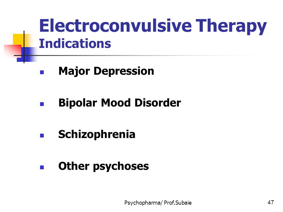 Electroconvulsive Therapy Indications