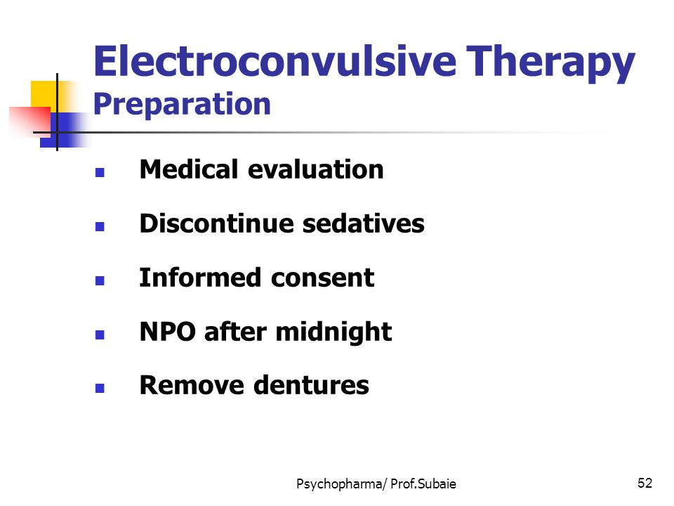 Electroconvulsive Therapy Preparation