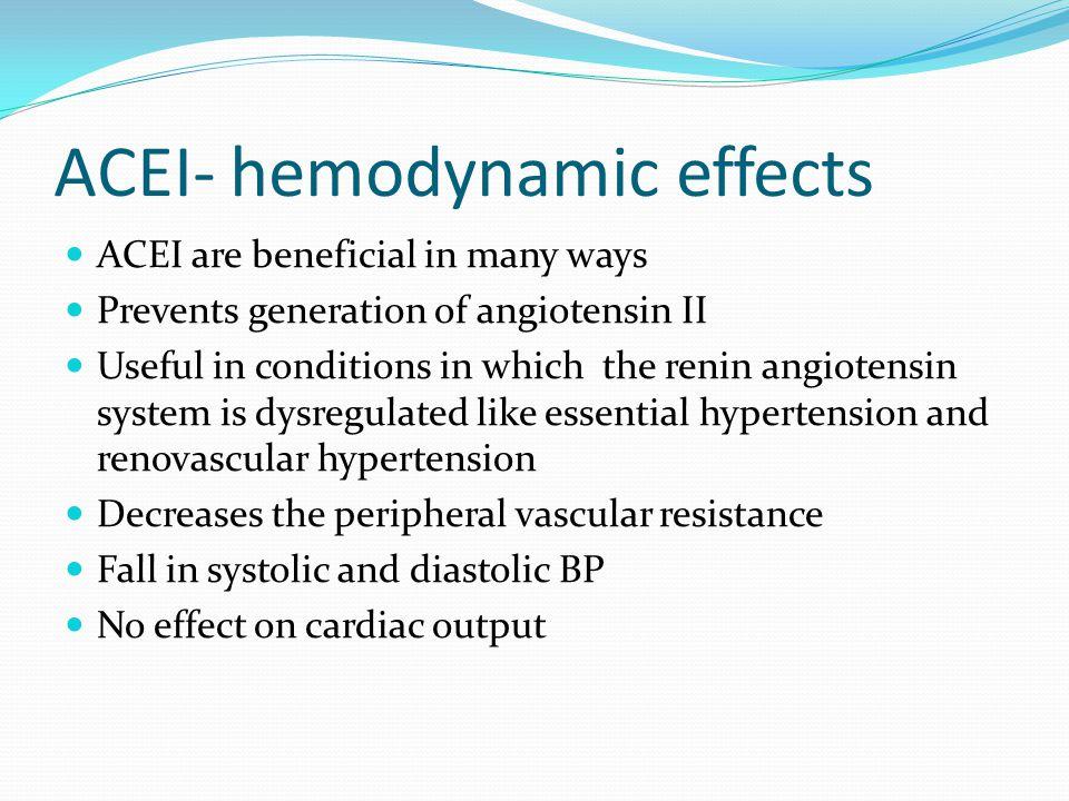 ACEI- hemodynamic effects