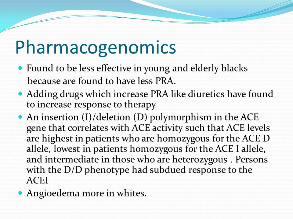 Pharmacogenomics Found to be less effective in young and elderly blacks. because are found to have less PRA.