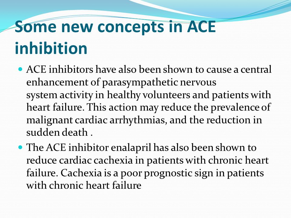 Some new concepts in ACE inhibition