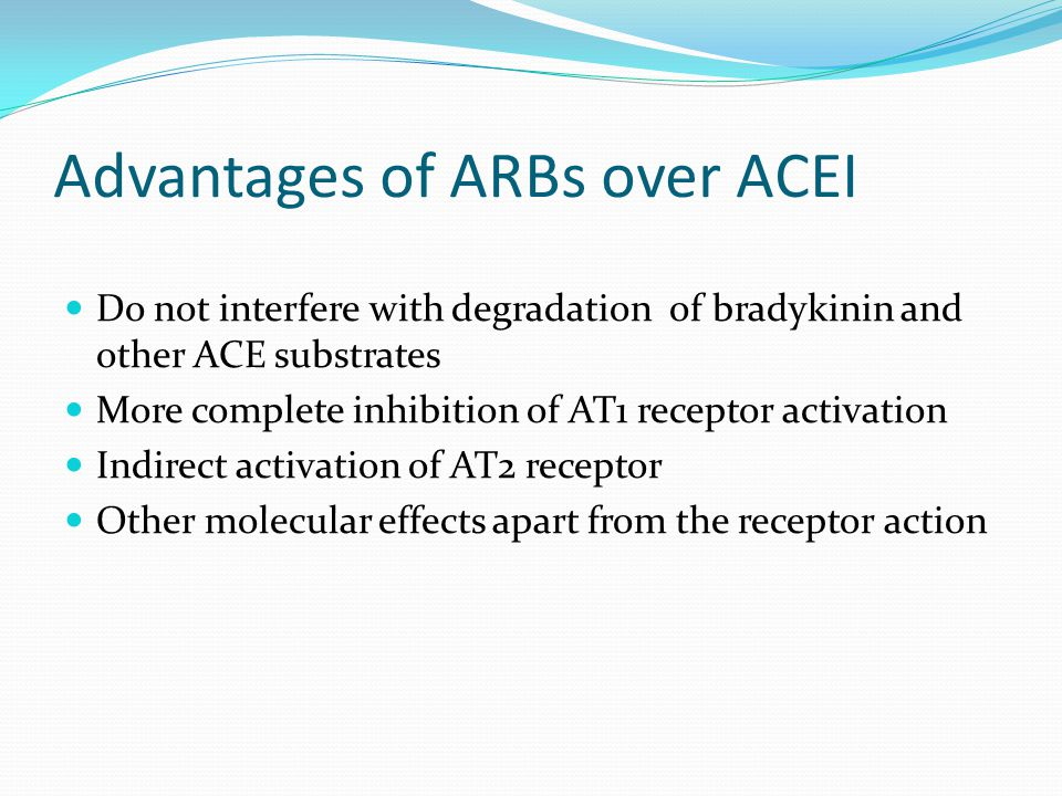 Advantages of ARBs over ACEI