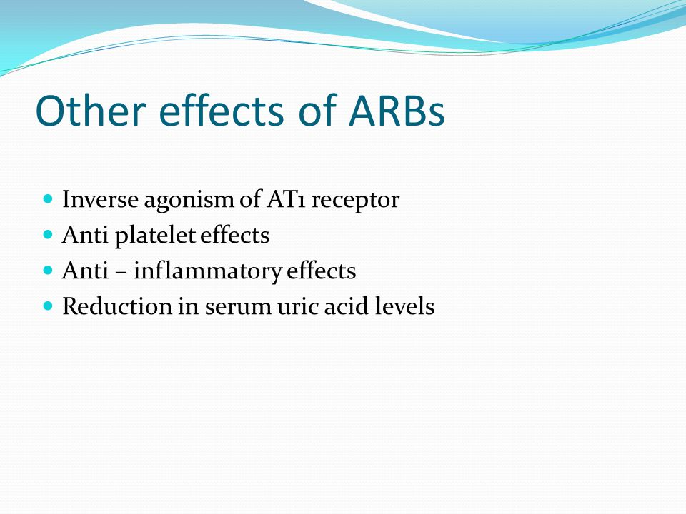 Other effects of ARBs Inverse agonism of AT1 receptor
