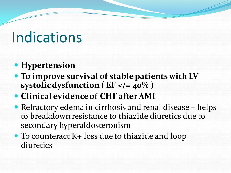 Indications Hypertension