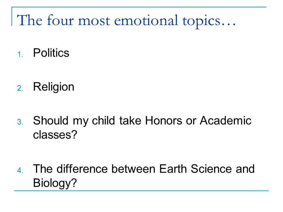 The four most emotional topics…