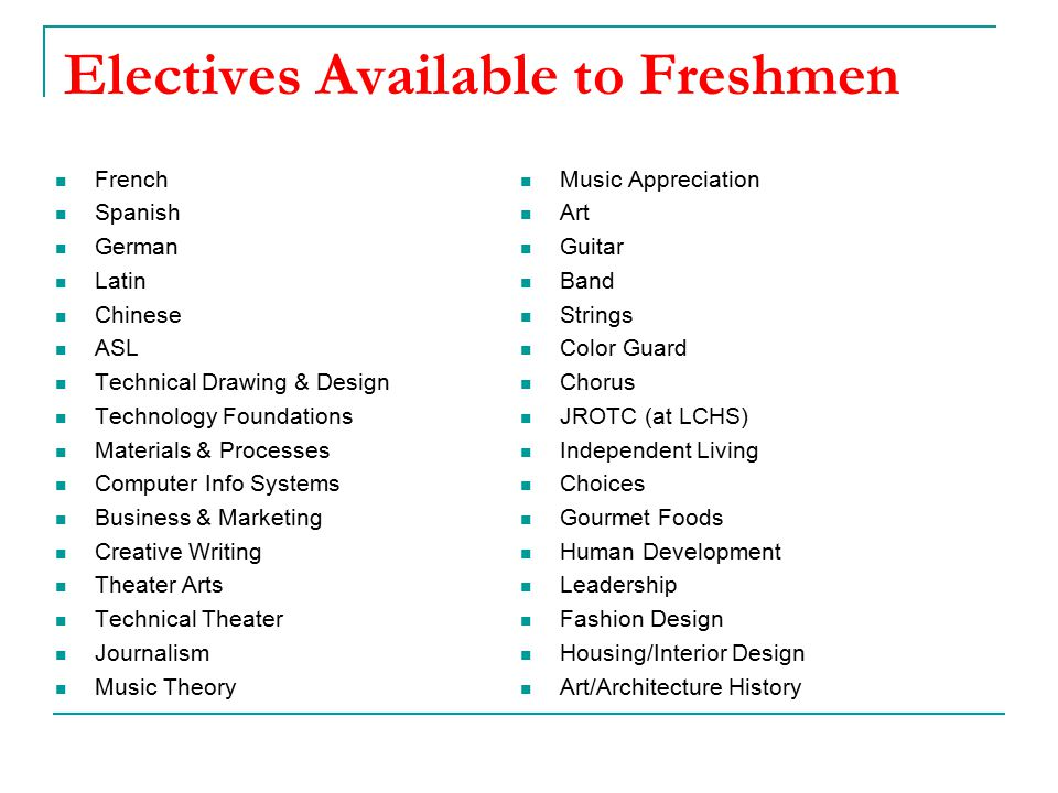 Electives Available to Freshmen