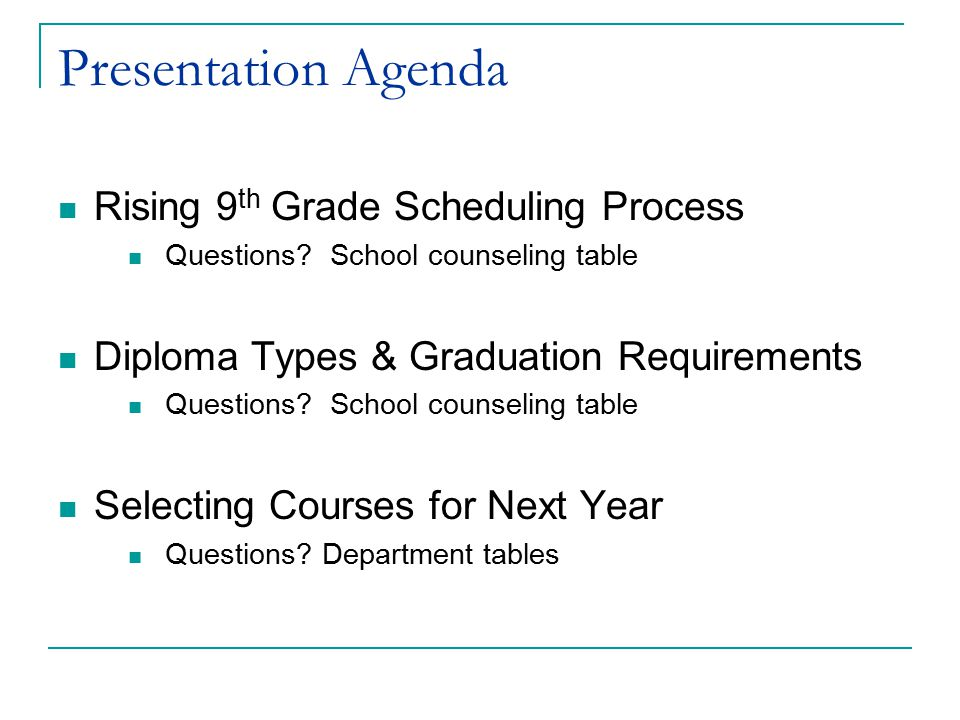 Presentation Agenda Rising 9th Grade Scheduling Process