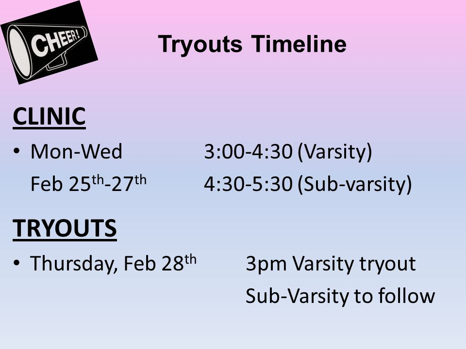 CLINIC TRYOUTS Tryouts Timeline Mon-Wed 3:00-4:30 (Varsity)