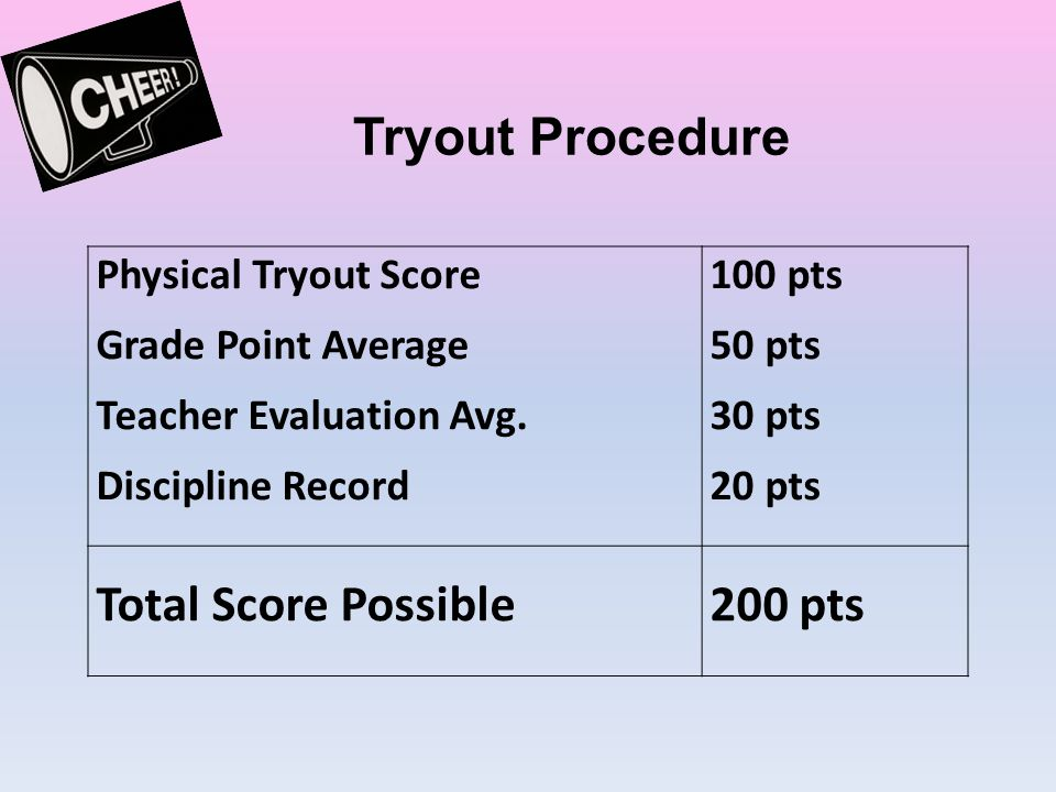 Tryout Procedure Total Score Possible 200 pts Physical Tryout Score