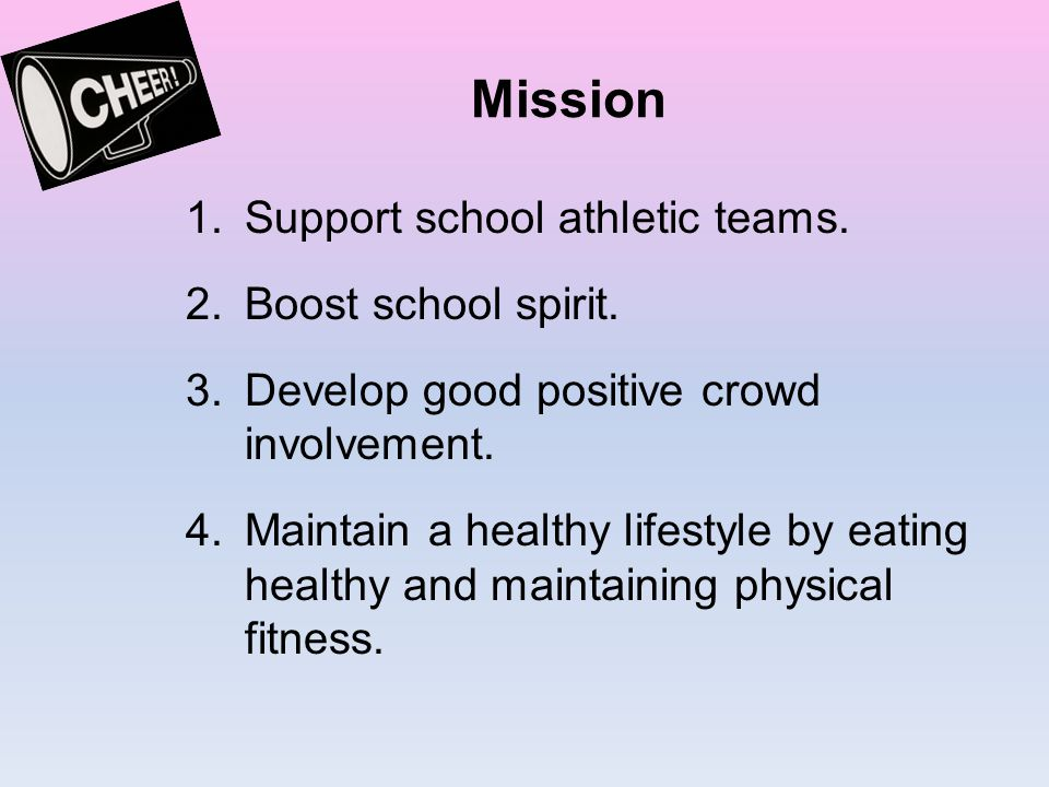 Mission Support school athletic teams. Boost school spirit.