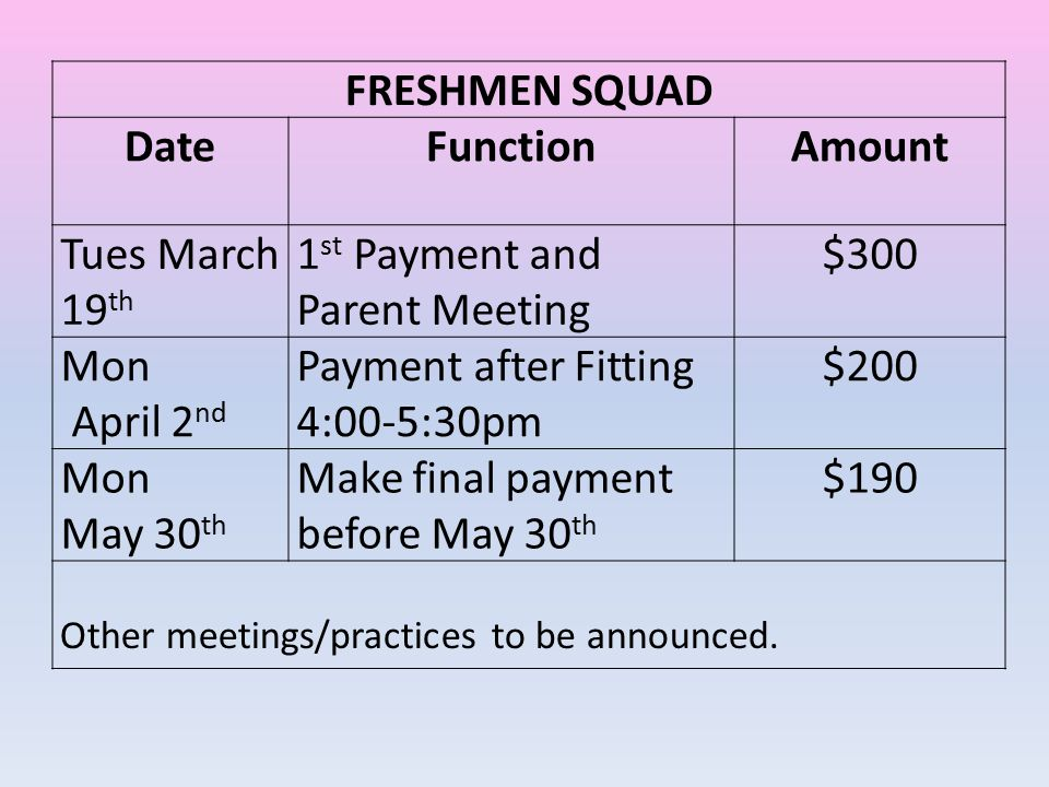 FRESHMEN SQUAD Date Function Amount