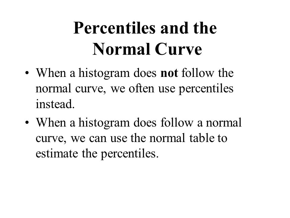 Percentiles and the Normal Curve