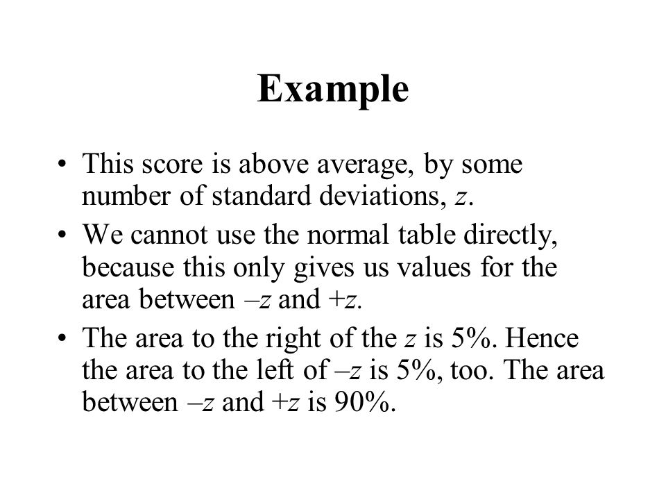 Example This score is above average, by some number of standard deviations, z.
