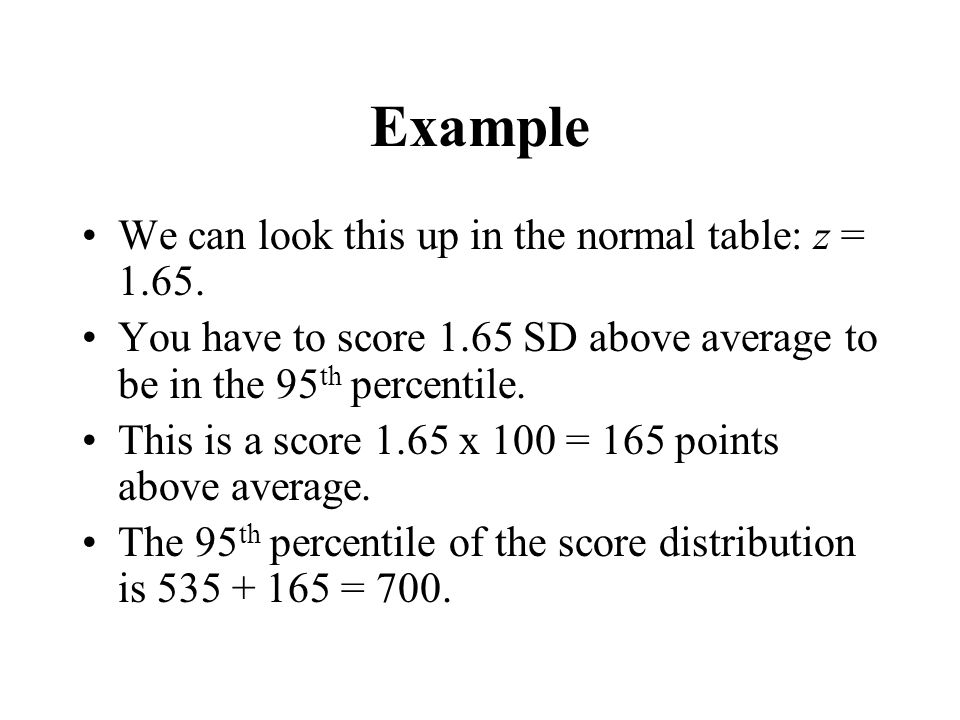 Example We can look this up in the normal table: z = 1.65.
