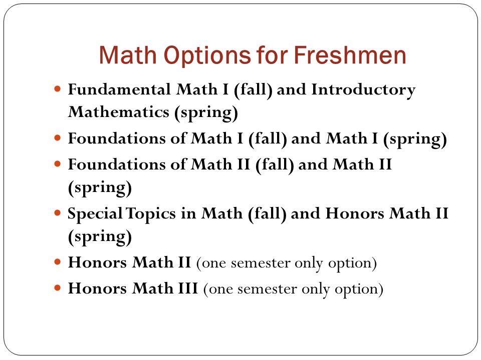 Math Options for Freshmen