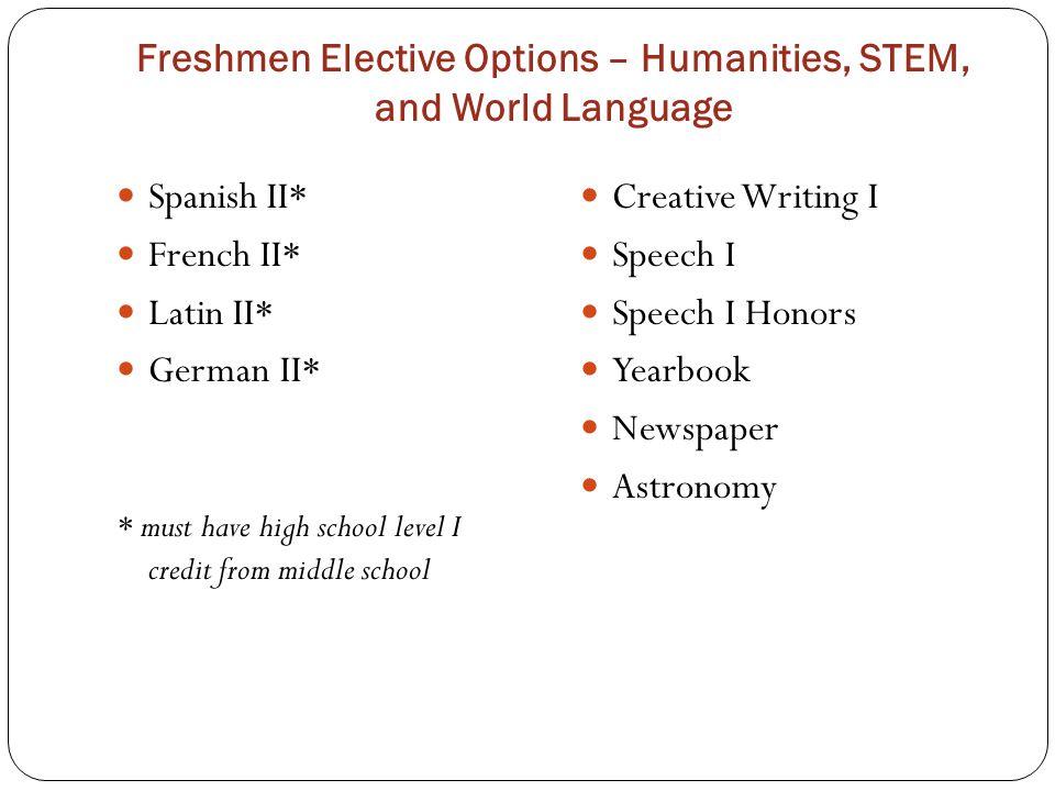 Freshmen Elective Options – Humanities, STEM, and World Language