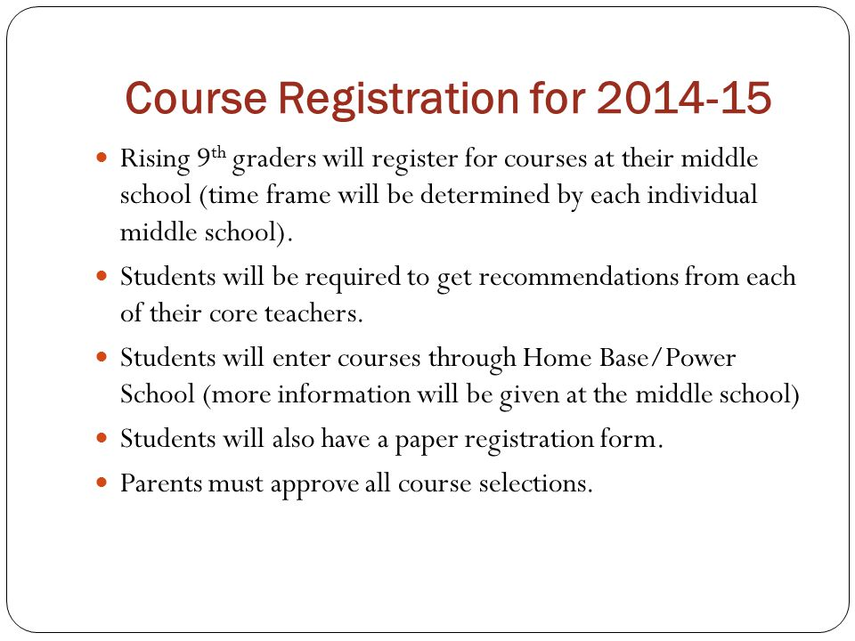 Course Registration for 2014-15