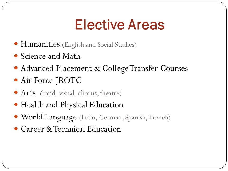 Elective Areas Humanities (English and Social Studies)