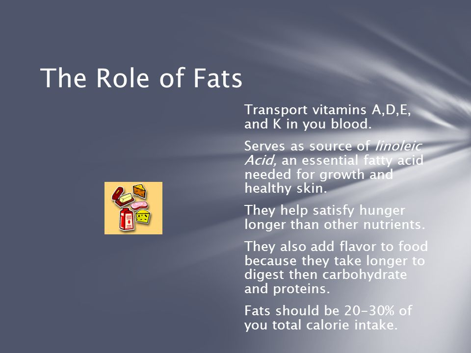 The Role of Fats Transport vitamins A,D,E, and K in you blood.