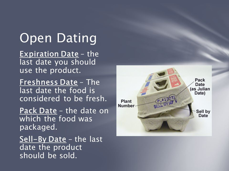 Open Dating Expiration Date – the last date you should use the product. Freshness Date – The last date the food is considered to be fresh.
