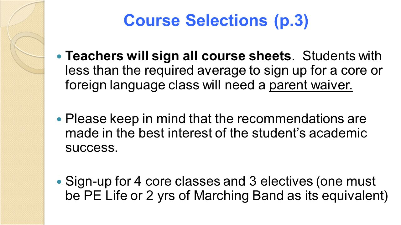 Course Selections (p.3)