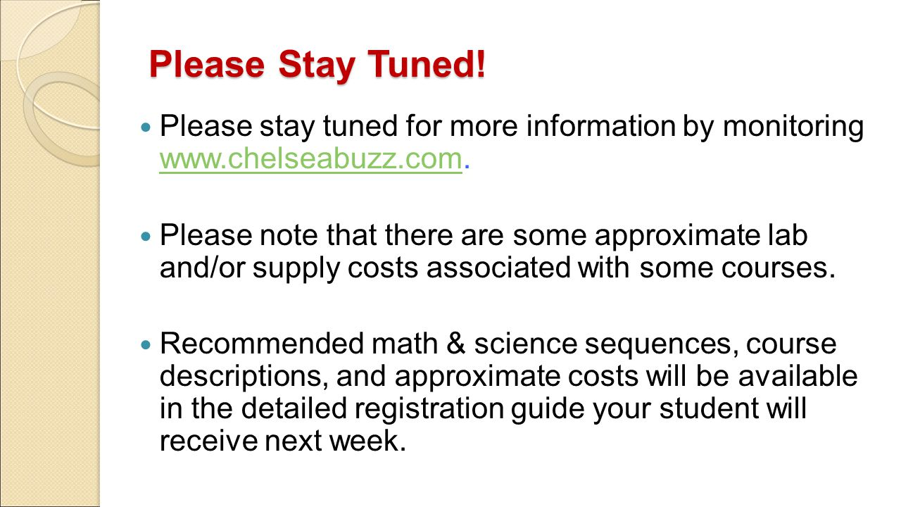 Please Stay Tuned! Please stay tuned for more information by monitoring www.chelseabuzz.com.