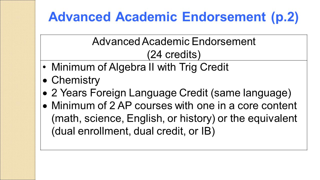 Advanced Academic Endorsement (p.2)