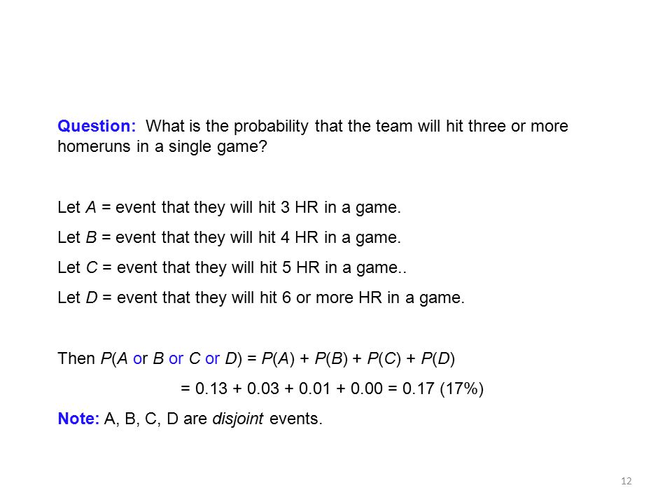 Question: What is the probability that the team will hit three or more homeruns in a single game