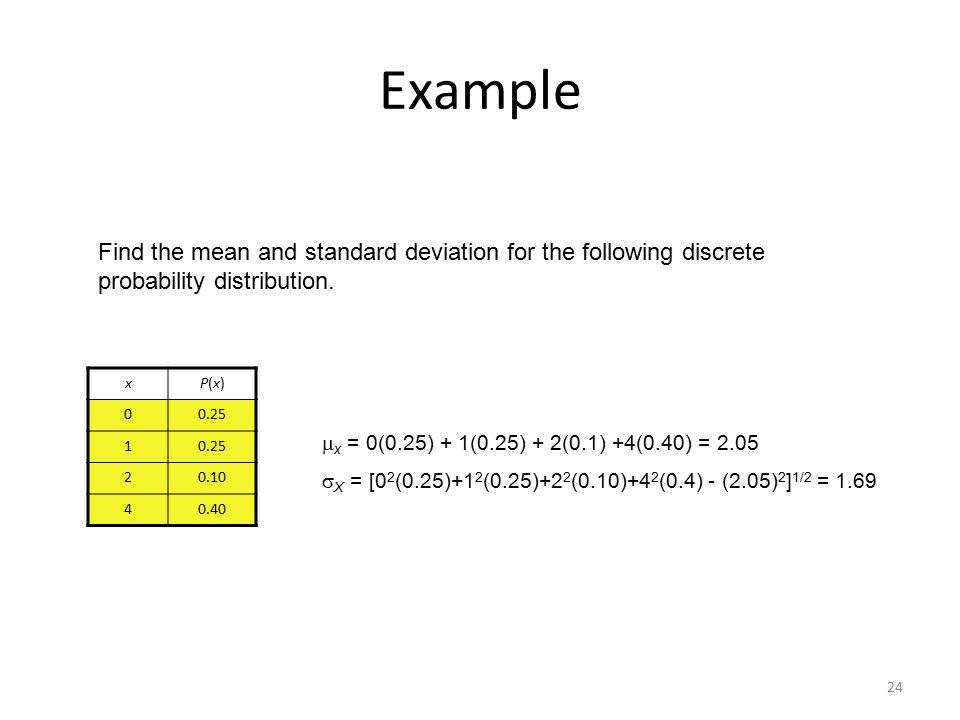 Chapter 6 discrete probability distributions ppt download example find the mean and standard deviation for the following discrete probability distribution x ccuart Images