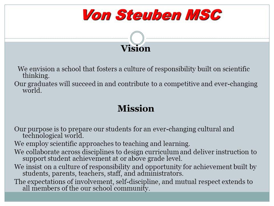 Von Steuben MSC Vision Mission