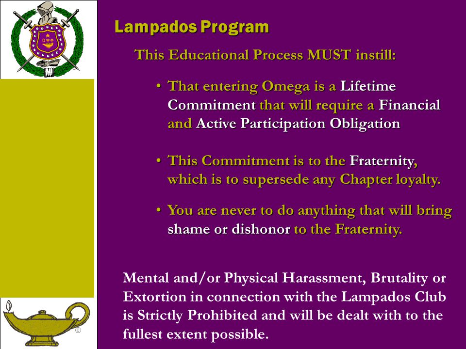 Lampados Program This Educational Process MUST instill:
