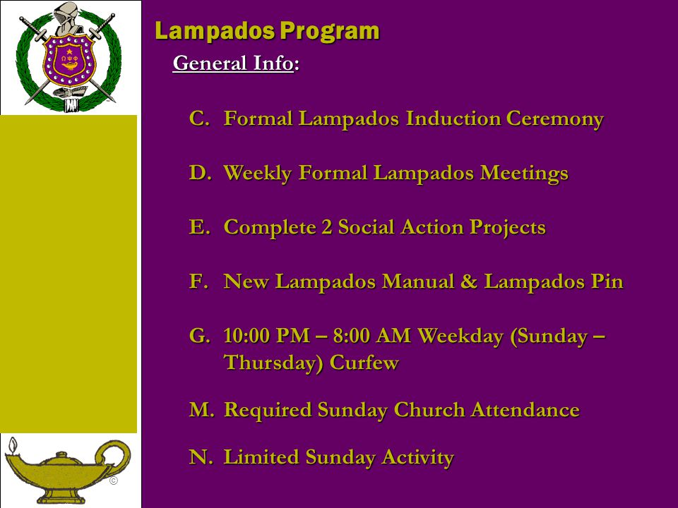 Lampados Program General Info: Formal Lampados Induction Ceremony