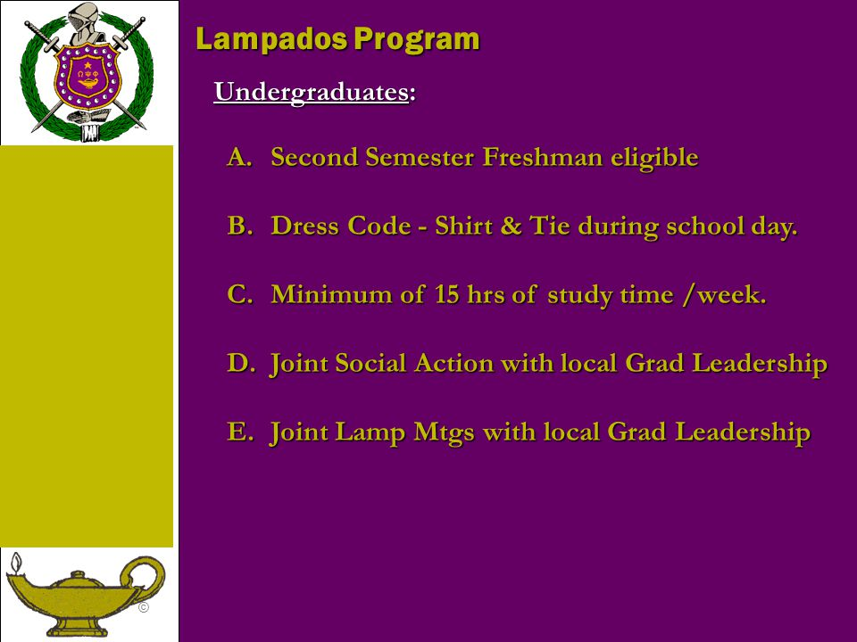 Lampados Program Undergraduates: Second Semester Freshman eligible