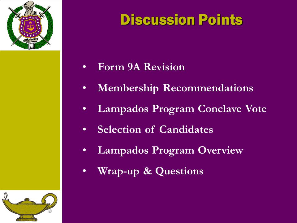 Discussion Points Form 9A Revision Membership Recommendations